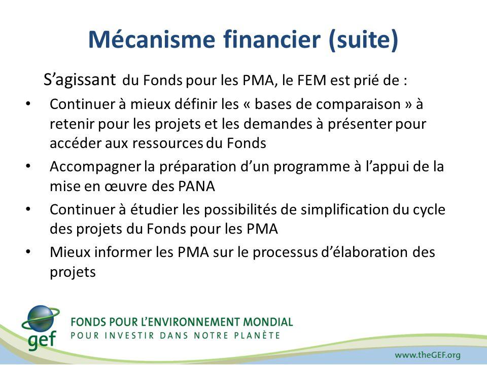 Mécanisme financier (suite) Sagissant du Fonds pour les PMA, le FEM est prié de : Continuer à mieux définir les « bases de comparaison » à retenir pour les projets et les demandes à présenter pour accéder aux ressources du Fonds Accompagner la préparation dun programme à lappui de la mise en œuvre des PANA Continuer à étudier les possibilités de simplification du cycle des projets du Fonds pour les PMA Mieux informer les PMA sur le processus délaboration des projets