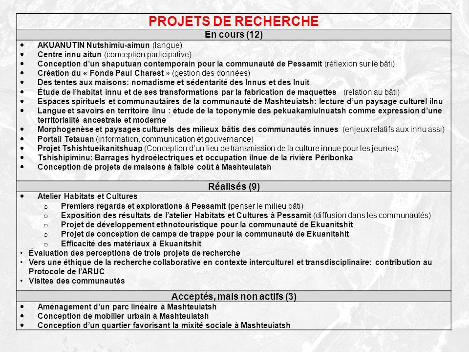 PROJETS DE RECHERCHE En cours (12) AKUANUTIN Nutshimiu-aimun (langue) Centre innu aitun (conception participative) Conception dun shaputuan contempora