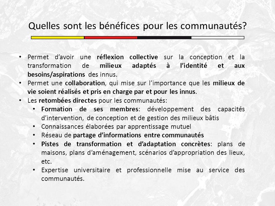 Quelles sont les bénéfices pour les communautés? Permet davoir une réflexion collective sur la conception et la transformation de milieux adaptés à li