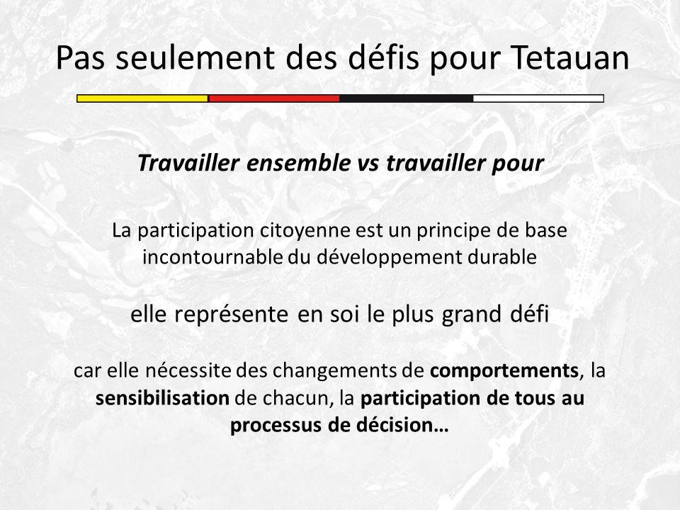 Pas seulement des défis pour Tetauan Travailler ensemble vs travailler pour La participation citoyenne est un principe de base incontournable du dével