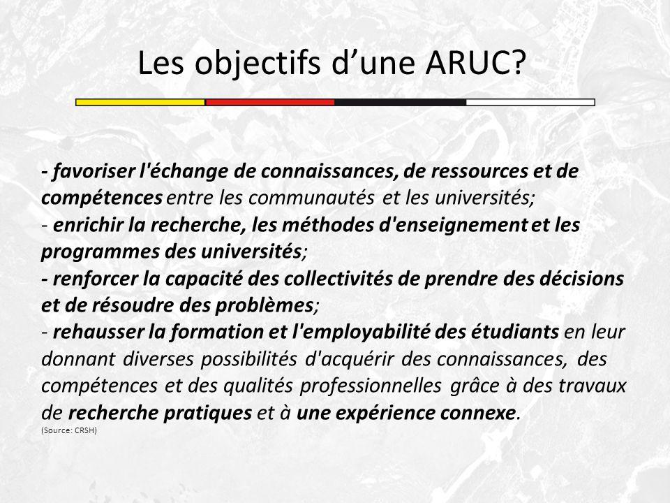 - favoriser l'échange de connaissances, de ressources et de compétences entre les communautés et les universités; - enrichir la recherche, les méthode
