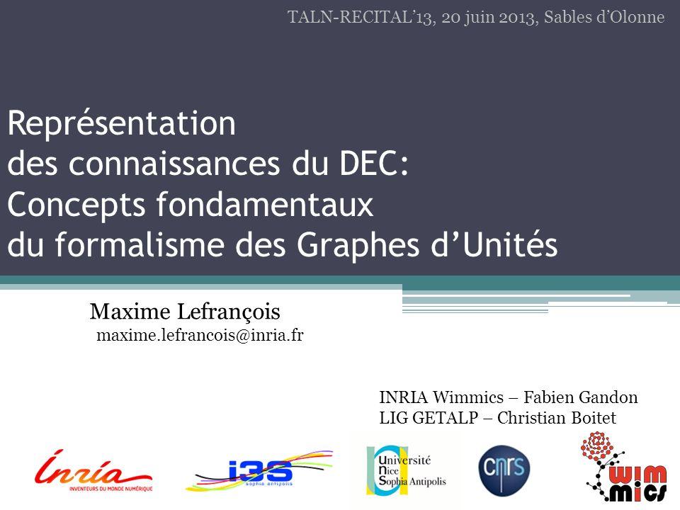Représentation des connaissances du DEC: Concepts fondamentaux du formalisme des Graphes dUnités Maxime Lefrançois maxime.lefrancois@inria.fr TALN-REC