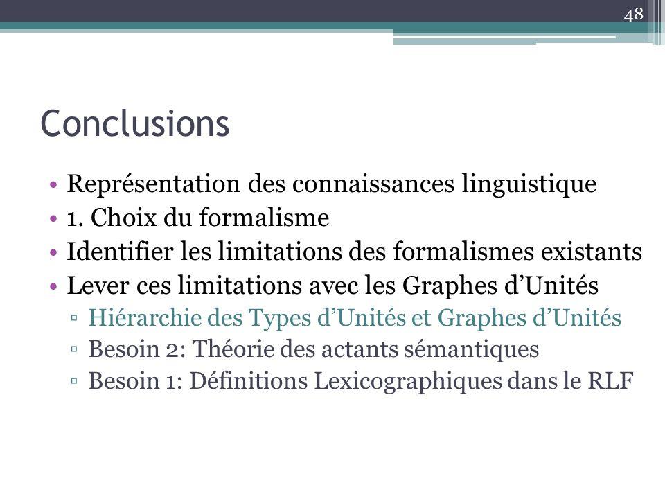 Conclusions 48 Représentation des connaissances linguistique 1. Choix du formalisme Identifier les limitations des formalismes existants Lever ces lim