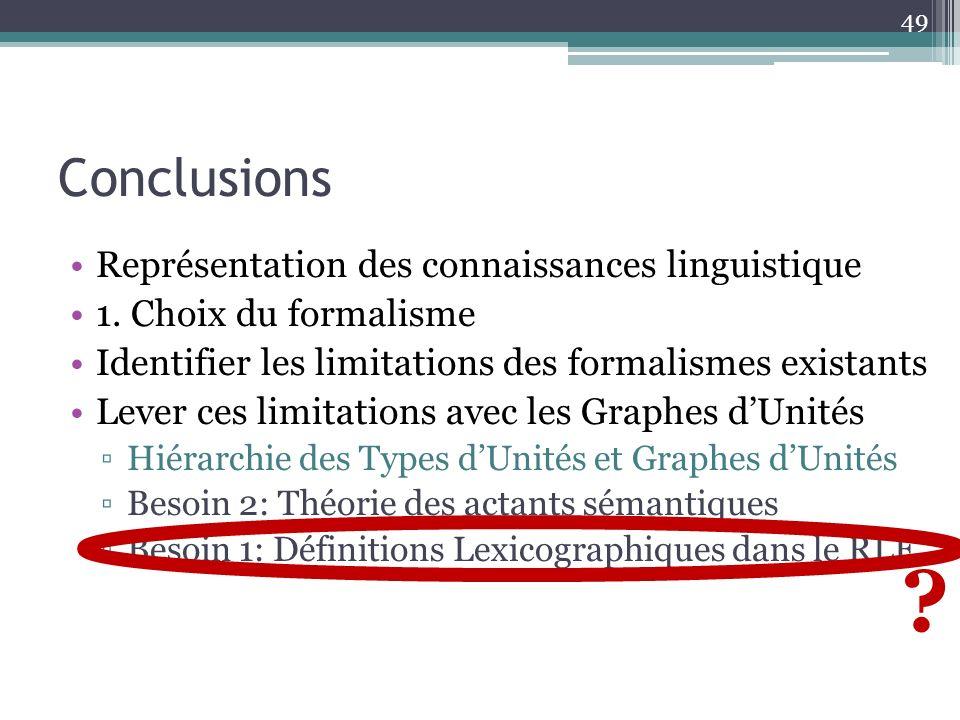Conclusions 49 ? Représentation des connaissances linguistique 1. Choix du formalisme Identifier les limitations des formalismes existants Lever ces l