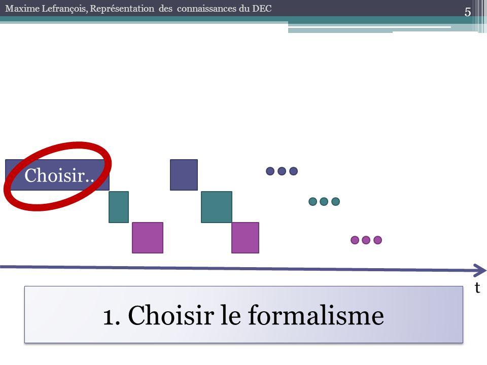 1. Choisir le formalisme 5 Maxime Lefrançois, Représentation des connaissances du DEC t Choisir...