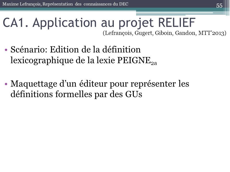 CA1. Application au projet RELIEF Scénario: Edition de la définition lexicographique de la lexie PEIGNE 2a Maquettage dun éditeur pour représenter les
