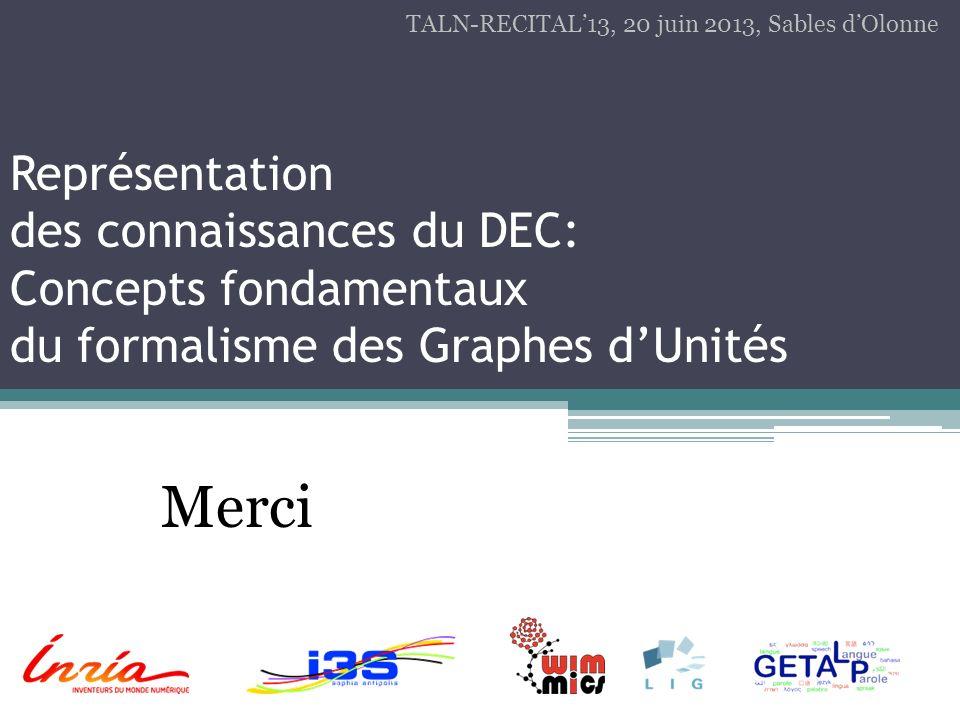 Représentation des connaissances du DEC: Concepts fondamentaux du formalisme des Graphes dUnités Merci TALN-RECITAL13, 20 juin 2013, Sables dOlonne
