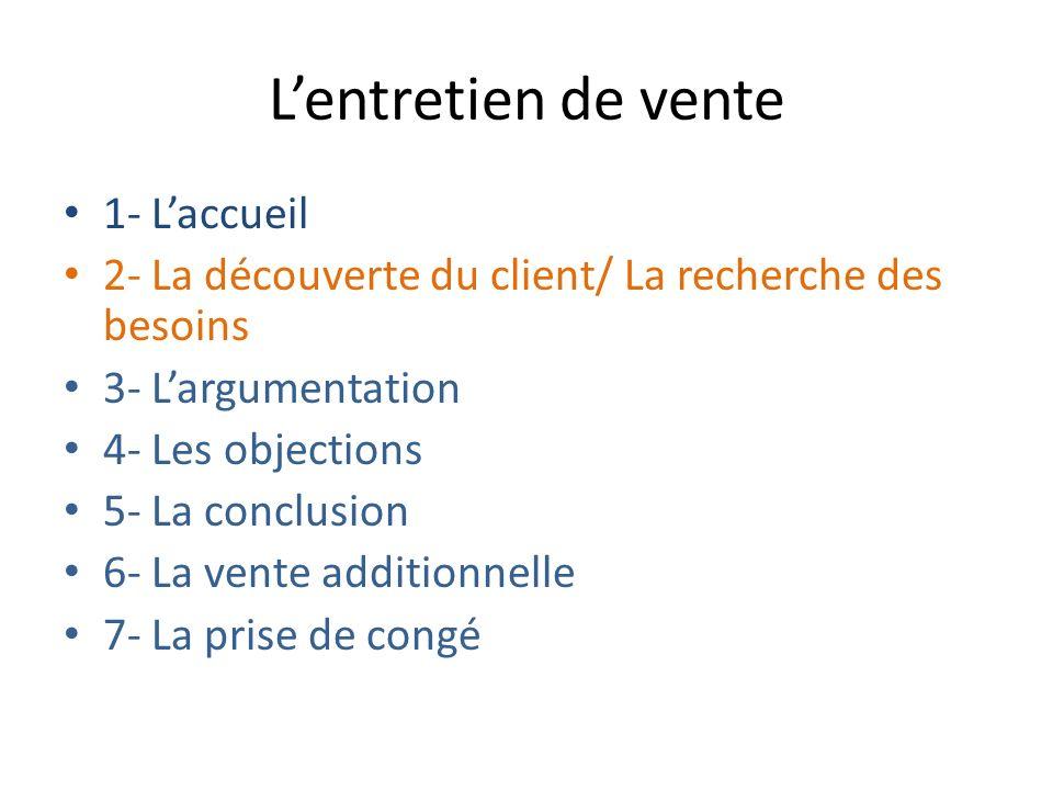 1- Laccueil 2- La découverte du client/ La recherche des besoins 3- Largumentation 4- Les objections 5- La conclusion 6- La vente additionnelle 7- La prise de congé Lentretien de vente