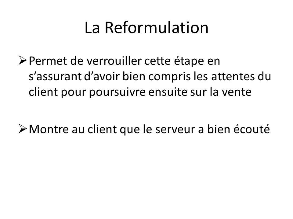 La Reformulation Permet de verrouiller cette étape en sassurant davoir bien compris les attentes du client pour poursuivre ensuite sur la vente Montre au client que le serveur a bien écouté
