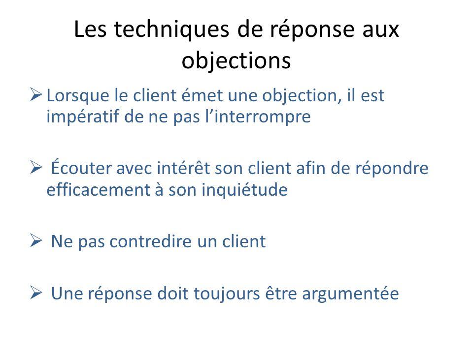Les techniques de réponse aux objections Lorsque le client émet une objection, il est impératif de ne pas linterrompre Écouter avec intérêt son client afin de répondre efficacement à son inquiétude Ne pas contredire un client Une réponse doit toujours être argumentée