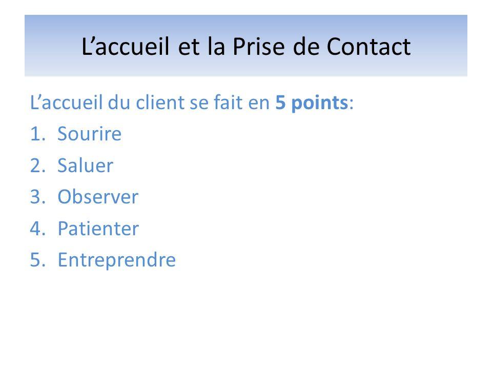 Laccueil et la Prise de Contact Laccueil du client se fait en 5 points: 1.Sourire 2.Saluer 3.Observer 4.Patienter 5.Entreprendre
