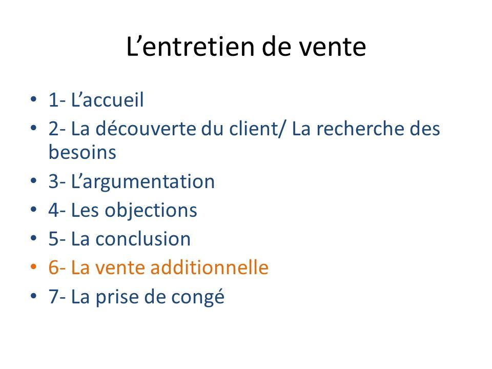 Lentretien de vente 1- Laccueil 2- La découverte du client/ La recherche des besoins 3- Largumentation 4- Les objections 5- La conclusion 6- La vente