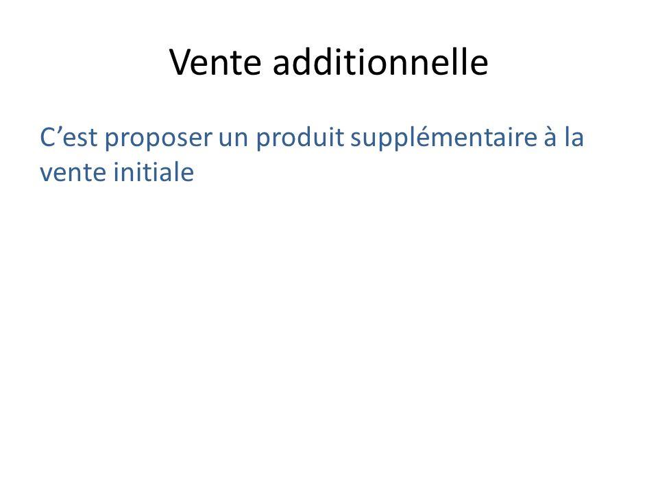 Vente additionnelle Cest proposer un produit supplémentaire à la vente initiale