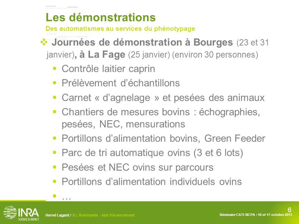 6 Hervé Lagant / S.I. Ruminants : état davancement Séminaire CATI SICPA : 16 et 17 octobre 2013 Les démonstrations Des automatismes au services du phé