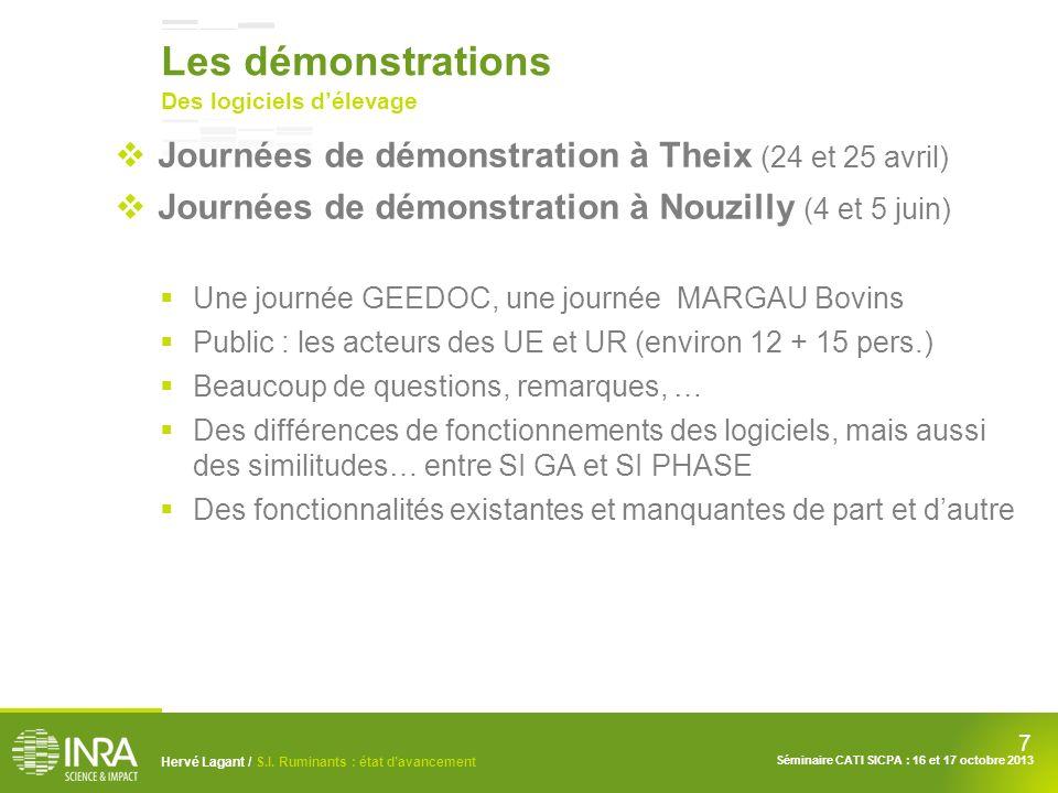 7 Hervé Lagant / S.I. Ruminants : état davancement Séminaire CATI SICPA : 16 et 17 octobre 2013 Les démonstrations Des logiciels délevage Journées de