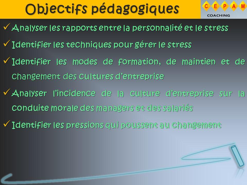 Objectifs pédagogiques Objectifs pédagogiques
