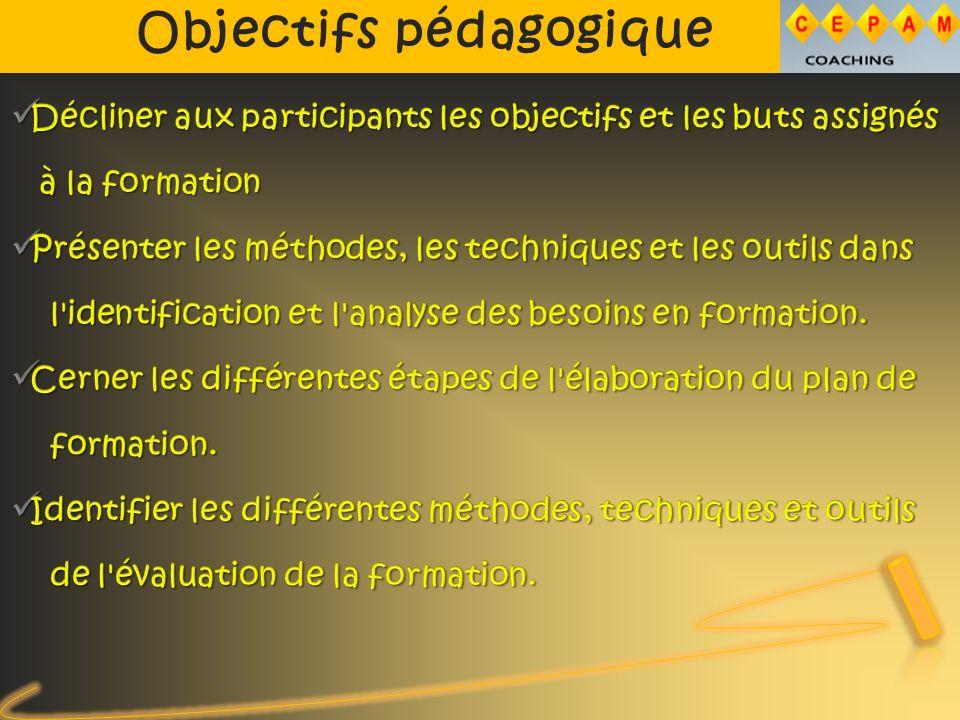 Objectifs pédagogique