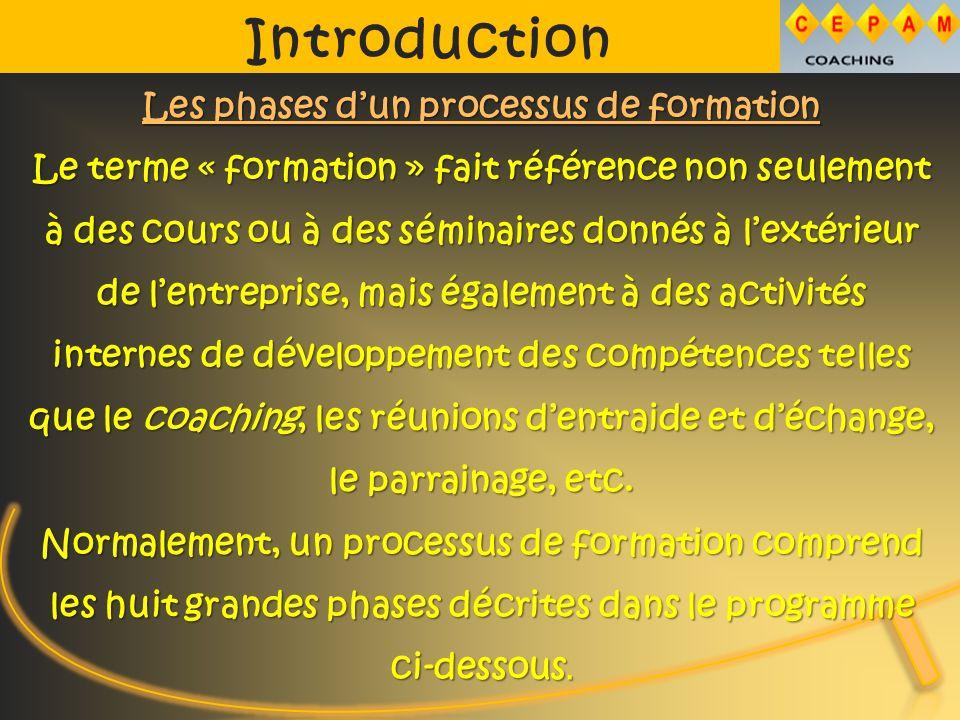 Introduction Les phases dun processus de formation Le terme « formation » fait référence non seulement à des cours ou à des séminaires donnés à lextérieur de lentreprise, mais également à des activités internes de développement des compétences telles que le coaching, les réunions dentraide et déchange, le parrainage, etc.