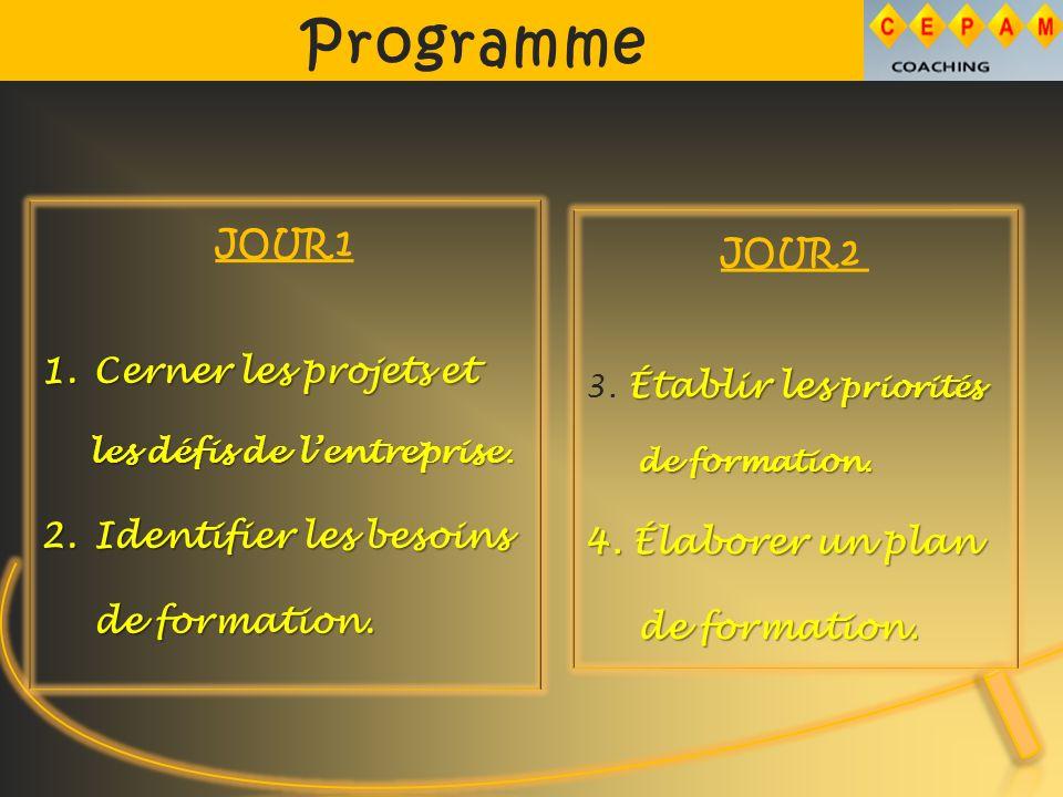Programme JOUR 1 1.Cerner les projets et les défis de lentreprise.