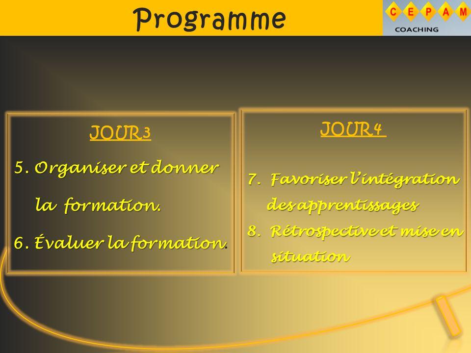Programme JOUR 3 5. Organiser et donner la formation.