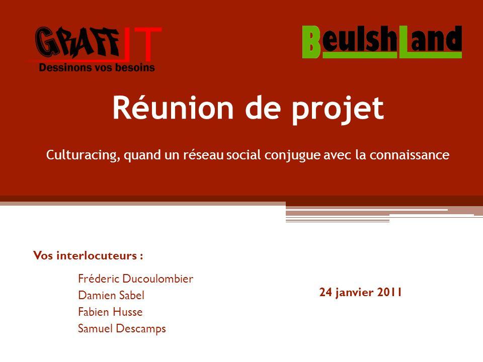 Réunion de projet Vos interlocuteurs : Fréderic Ducoulombier Damien Sabel Fabien Husse Samuel Descamps Culturacing, quand un réseau social conjugue avec la connaissance 24 janvier 2011