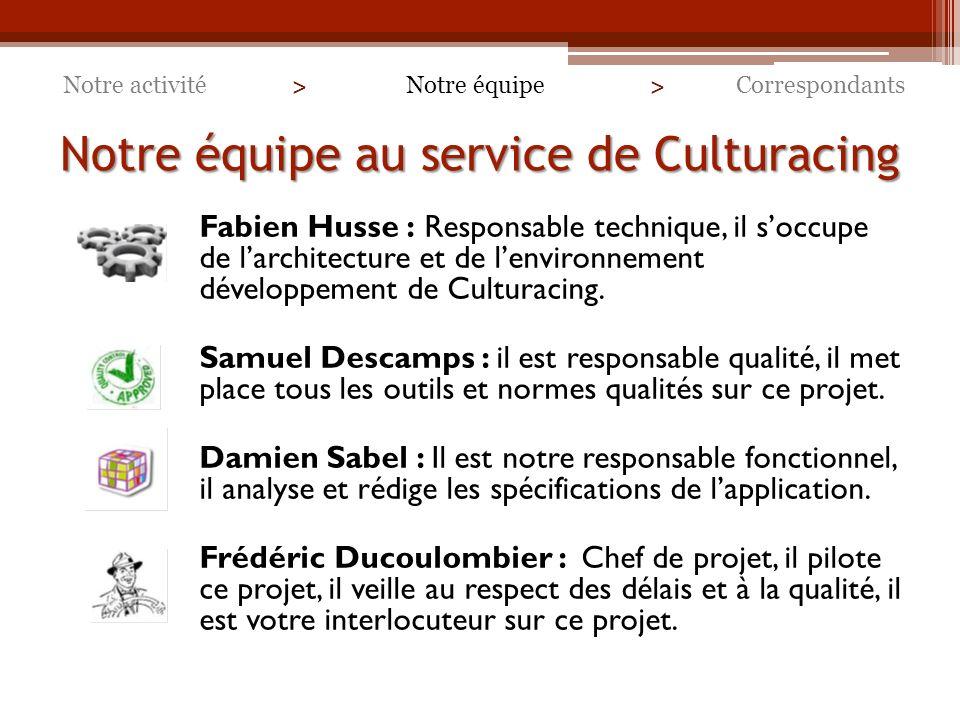 Notre équipe au service de Culturacing Fabien Husse : Responsable technique, il soccupe de larchitecture et de lenvironnement développement de Culturacing.