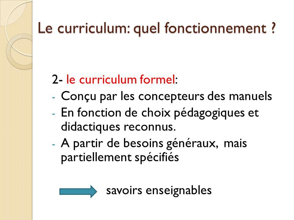 Le curriculum: quel fonctionnement .