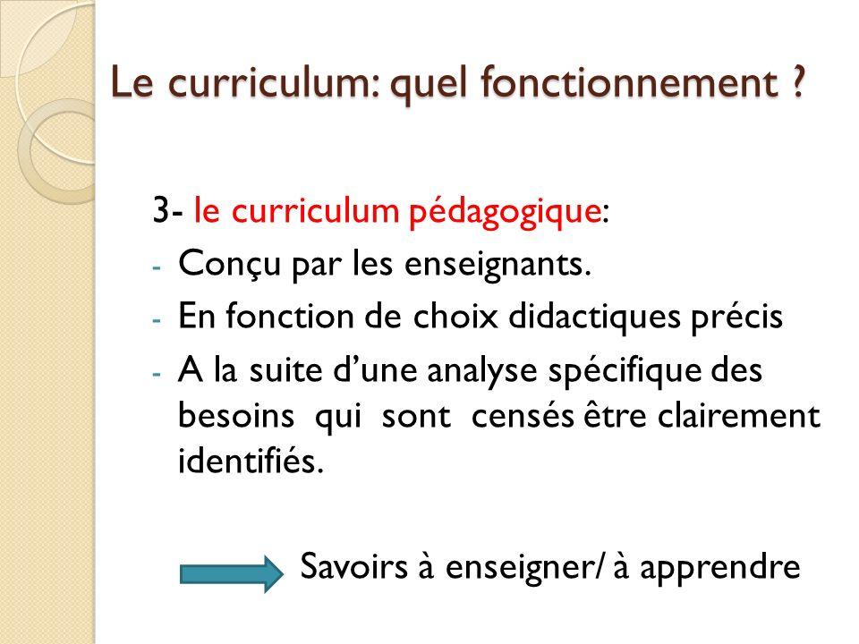Le curriculum: quel fonctionnement .3- le curriculum pédagogique: - Conçu par les enseignants.