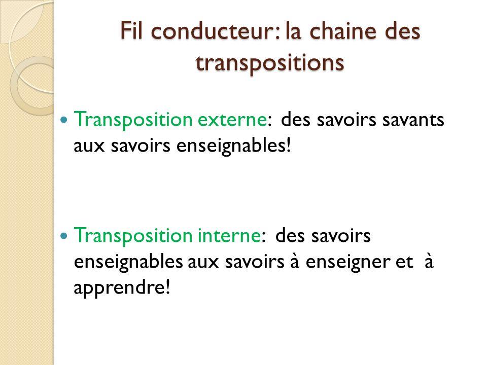Fil conducteur: la chaine des transpositions Transposition externe: des savoirs savants aux savoirs enseignables.