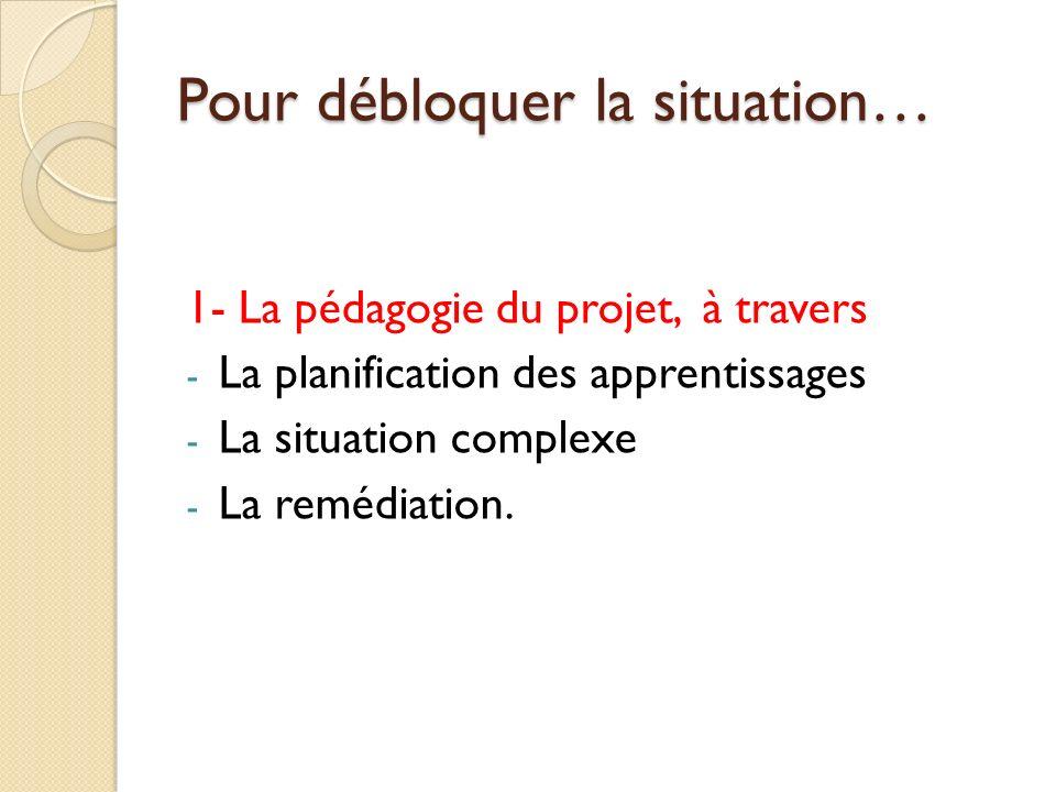 Pour débloquer la situation… 1- La pédagogie du projet, à travers - La planification des apprentissages - La situation complexe - La remédiation.