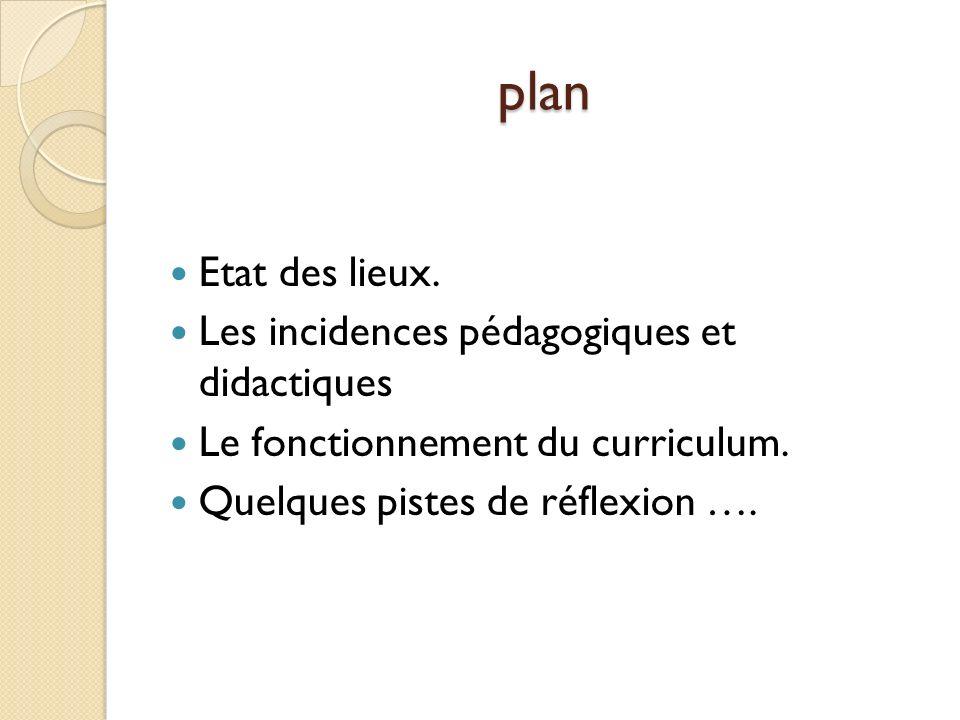 plan Etat des lieux.Les incidences pédagogiques et didactiques Le fonctionnement du curriculum.