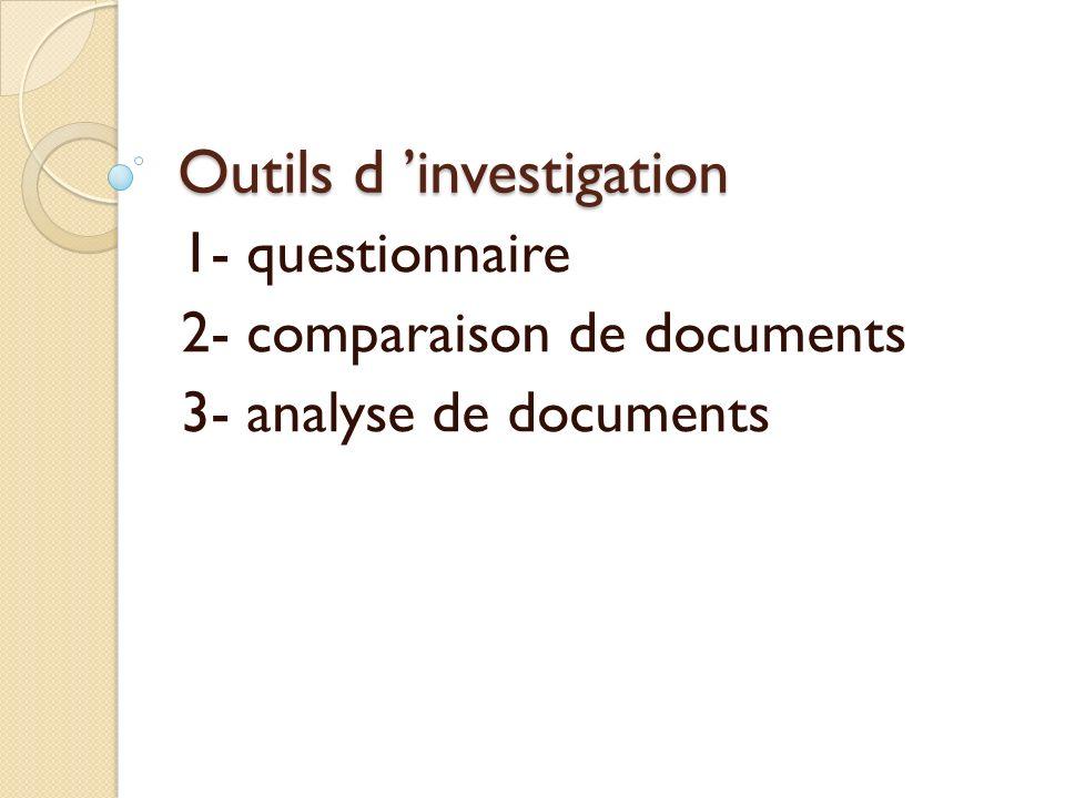Outils d investigation 1- questionnaire 2- comparaison de documents 3- analyse de documents