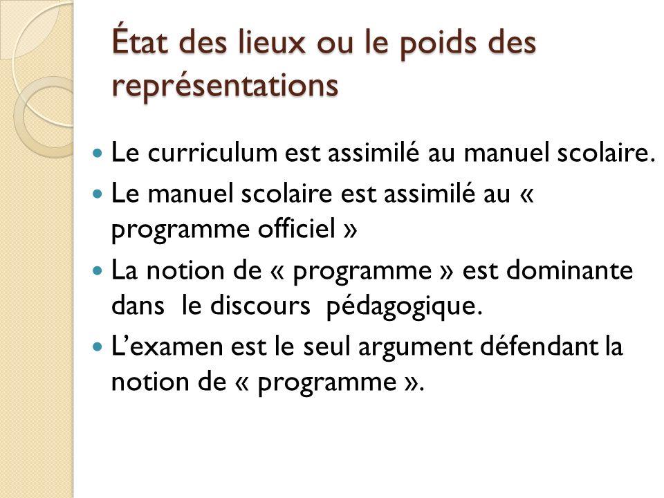 État des lieux ou le poids des représentations Le curriculum est assimilé au manuel scolaire.