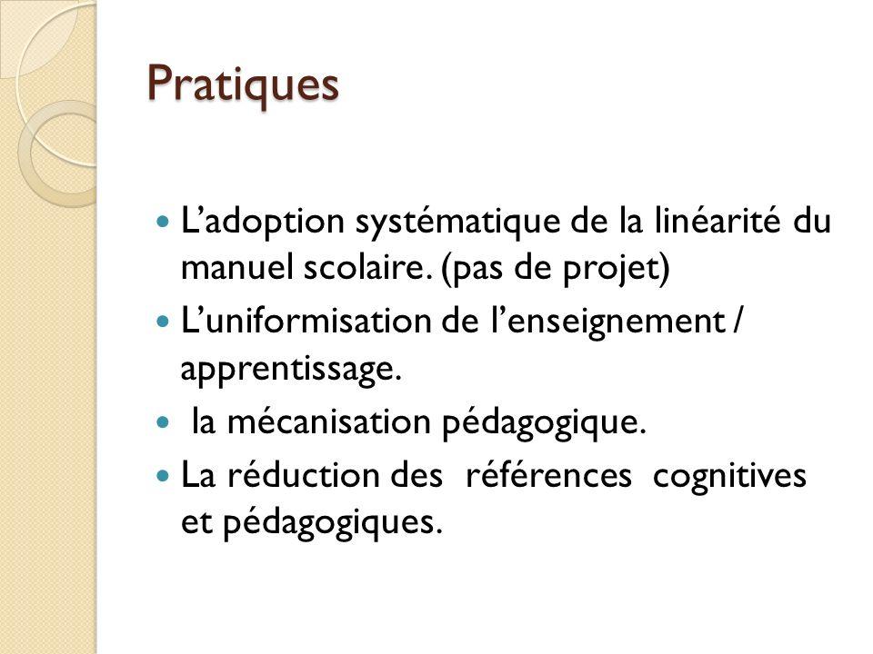 Pratiques Ladoption systématique de la linéarité du manuel scolaire.