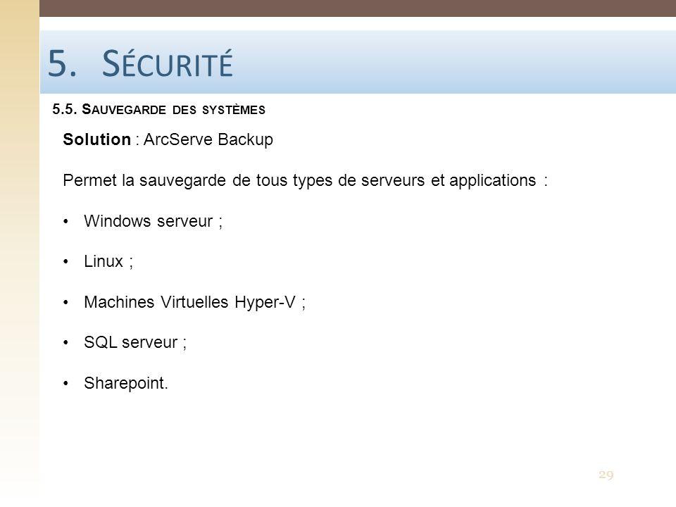 5.S ÉCURITÉ 5.5. S AUVEGARDE DES SYSTÈMES 29 Solution : ArcServe Backup Permet la sauvegarde de tous types de serveurs et applications : Windows serve