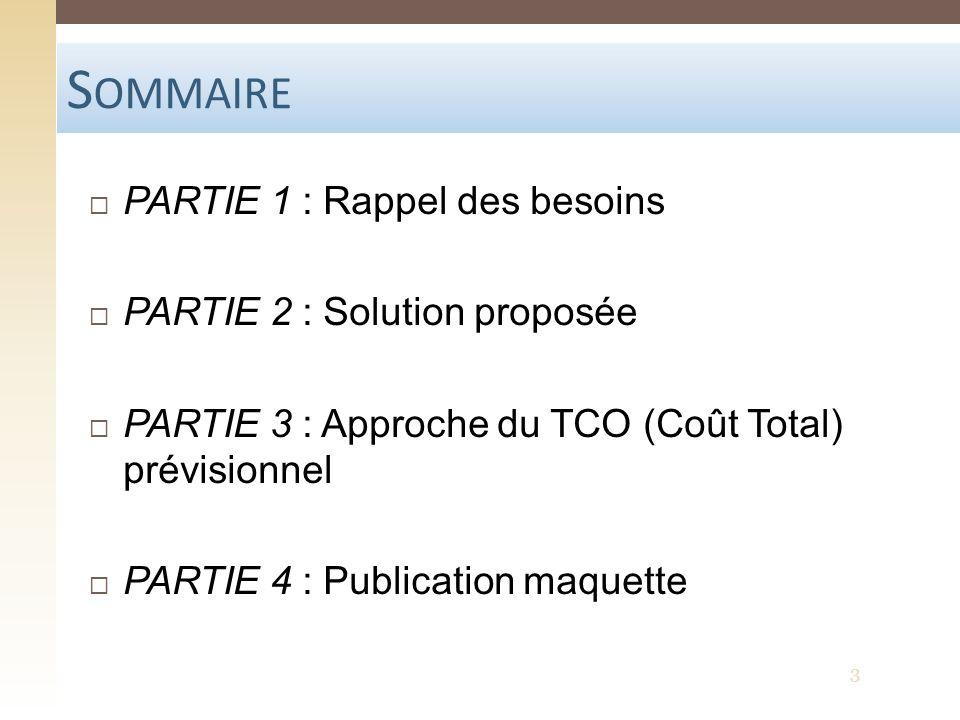 S OMMAIRE PARTIE 1 : Rappel des besoins PARTIE 2 : Solution proposée PARTIE 3 : Approche du TCO (Coût Total) prévisionnel PARTIE 4 : Publication maque