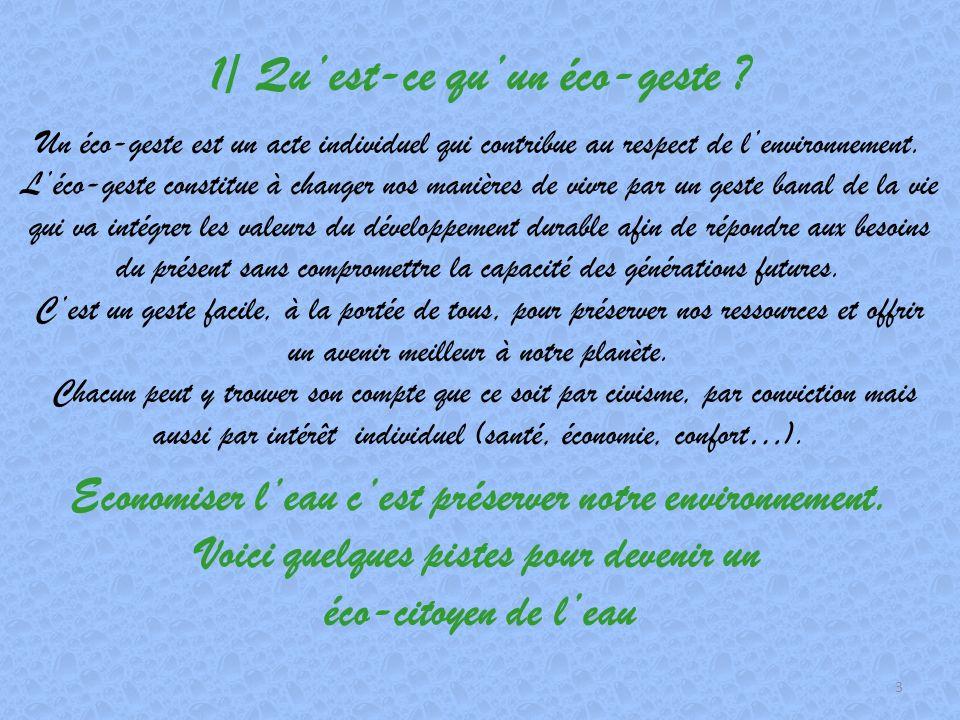 Sommaire 1/ Quest ce quun éco-geste ?page 3 2/ Pourquoi faire des éco-gestes ?page 4 3/ Comment faire des éco-gestes ?page 6 4/ Conséquence des éco-ge