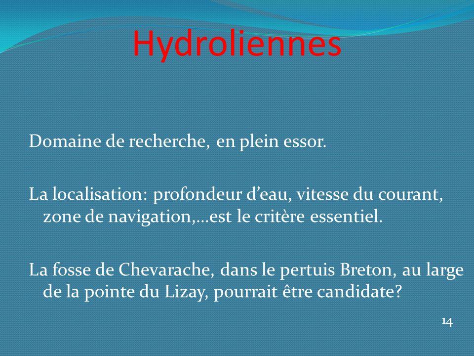 Hydroliennes Domaine de recherche, en plein essor. La localisation: profondeur deau, vitesse du courant, zone de navigation,…est le critère essentiel.