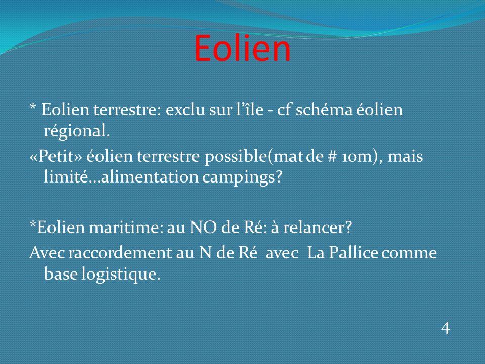 Eolien * Eolien terrestre: exclu sur lîle - cf schéma éolien régional.