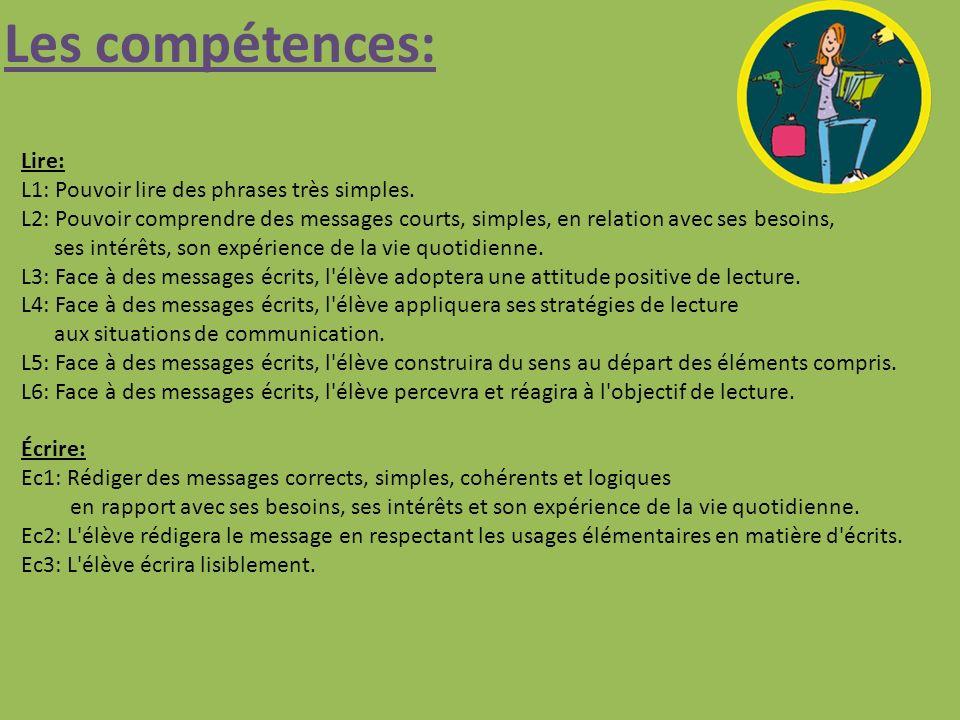 Les compétences: Lire: L1: Pouvoir lire des phrases très simples.