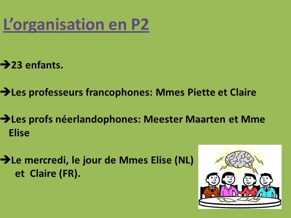 Lorganisation en P2 23 enfants.