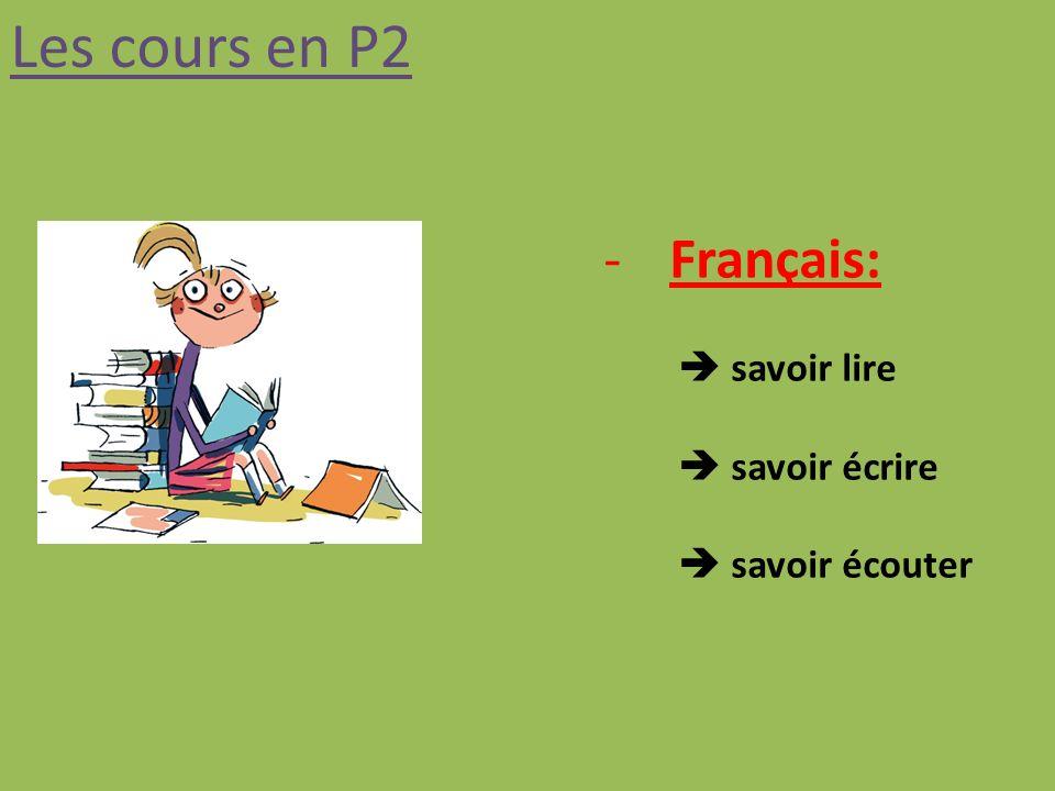 Les cours en P2 -Français: savoir lire savoir écrire savoir écouter
