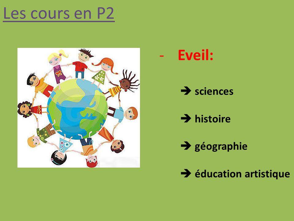 Les cours en P2 -Eveil: sciences histoire géographie éducation artistique