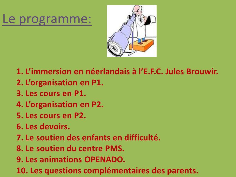 Le programme: 1.Limmersion en néerlandais à lE.F.C.