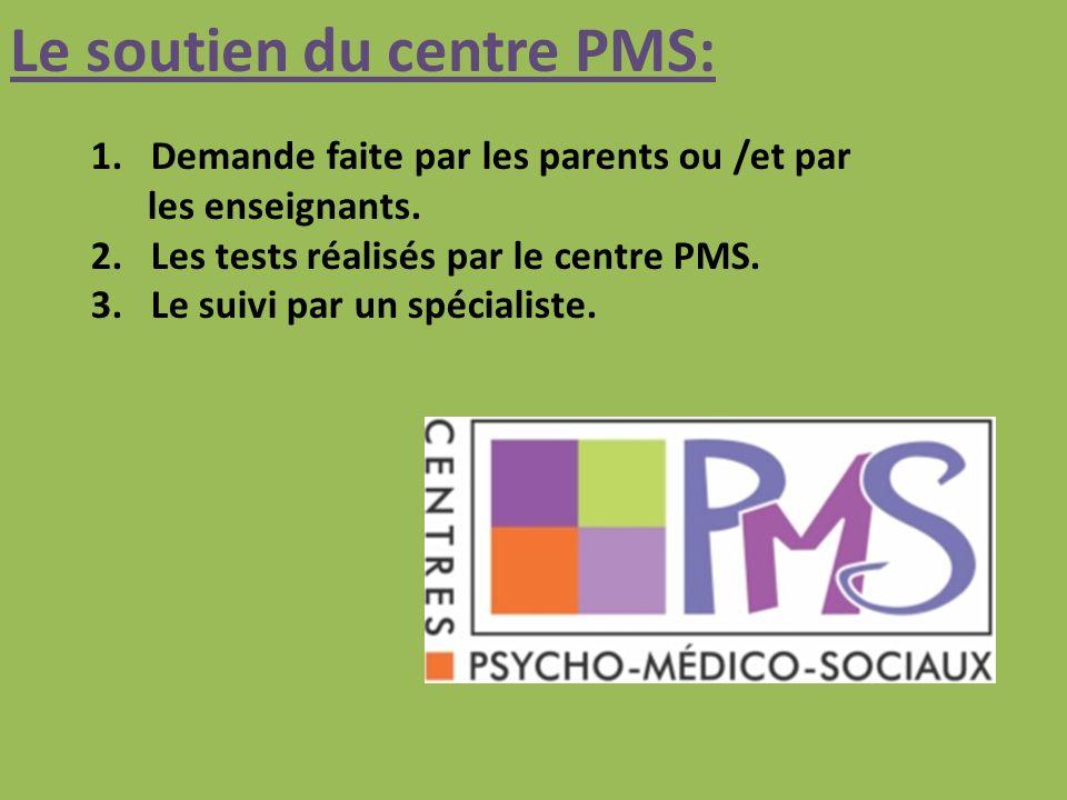 Le soutien du centre PMS: 1.Demande faite par les parents ou /et par les enseignants.
