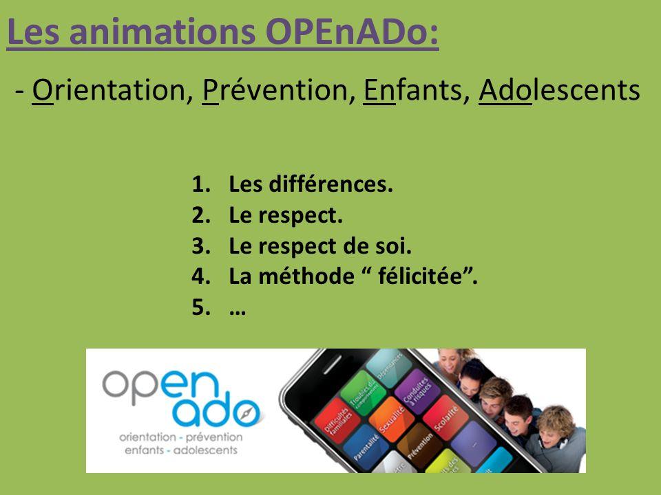 Les animations OPEnADo: - Orientation, Prévention, Enfants, Adolescents 1.Les différences.