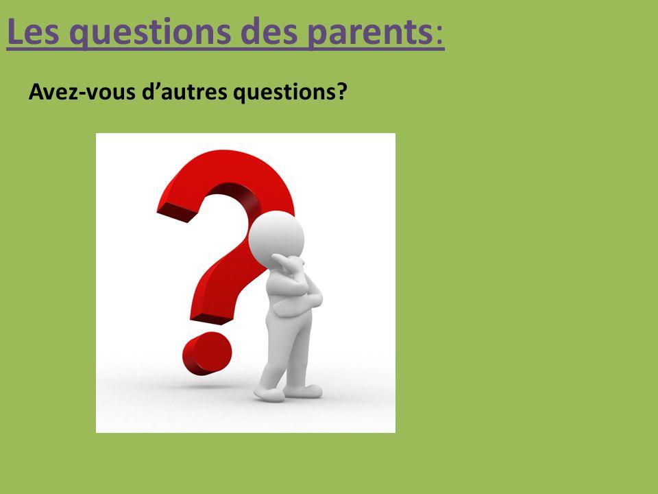 Les questions des parents: Avez-vous dautres questions?