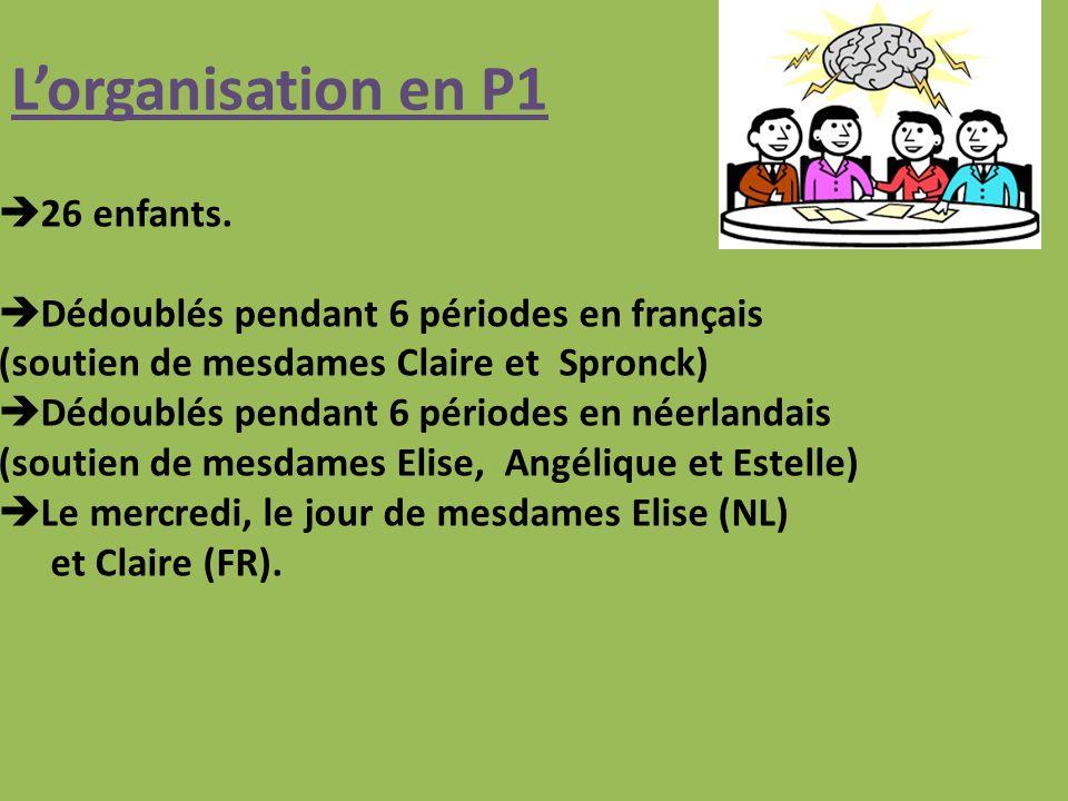 Lorganisation en P1 26 enfants.