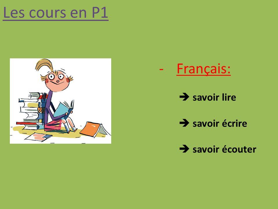 Les cours en P1 -Français: savoir lire savoir écrire savoir écouter