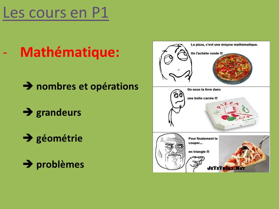 Les cours en P1 -Mathématique: nombres et opérations grandeurs géométrie problèmes